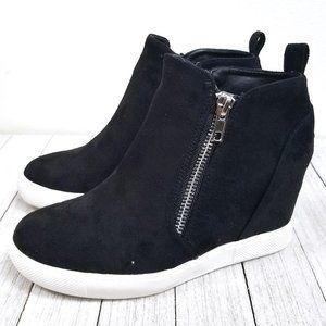 New Black Zipper Hidden Wedge High Top Sneakers